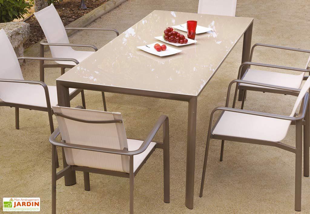 Table de Jardin 200 cm Aluminium et Verre Taupe Goya