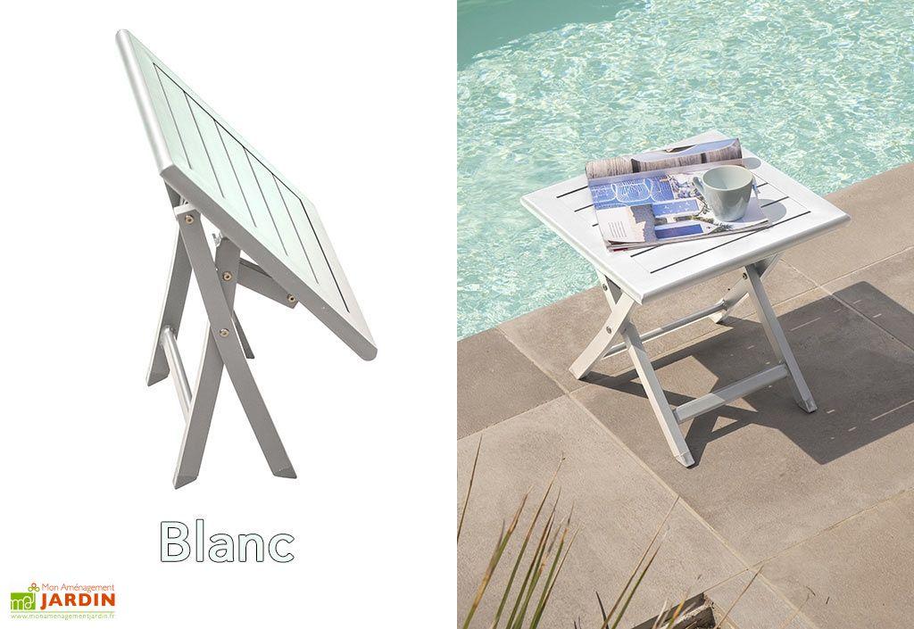 Table Basse de Jardin Pliante en Aluminium 43 cm (pls coloris) - Alumob