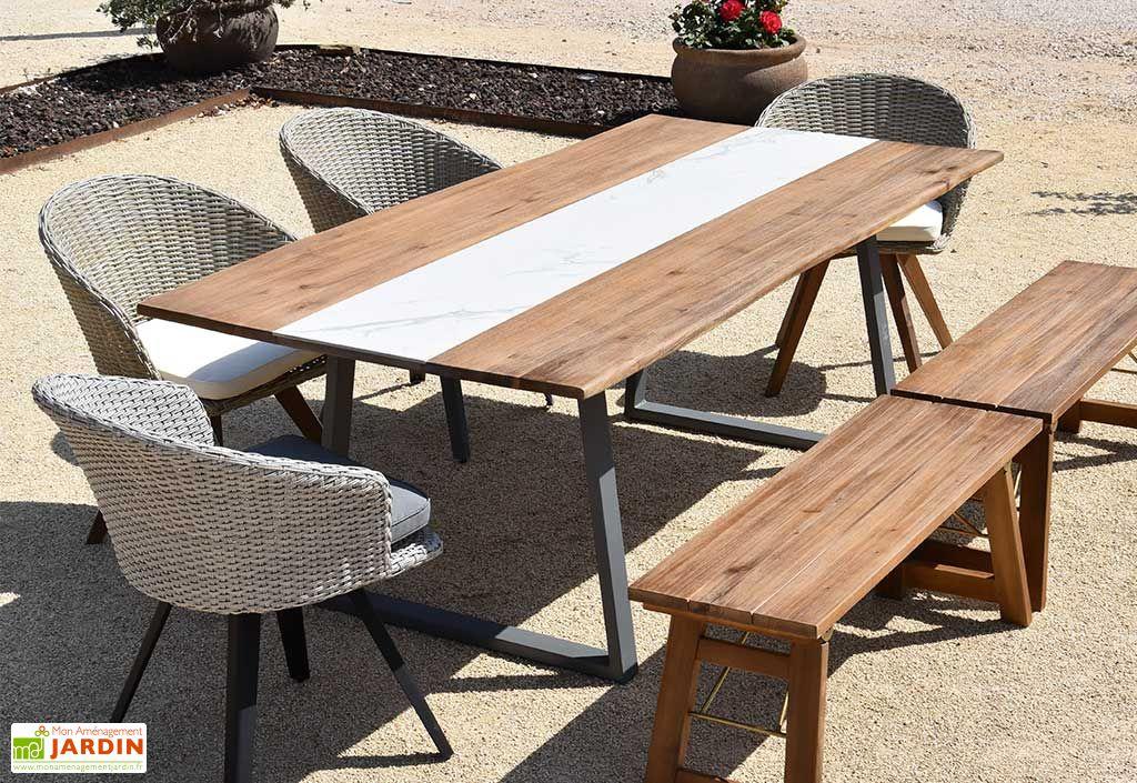 Table de Jardin en Bois d'Acacia et Métal Greshana 200 x 100 cm