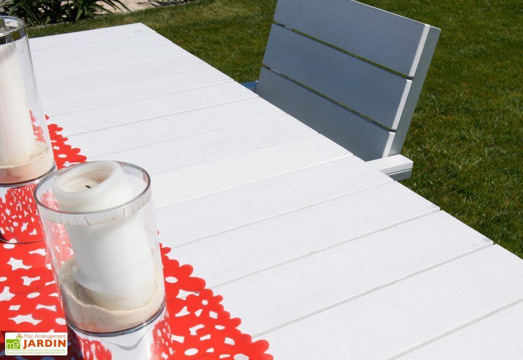 Table Jardin Composite Blanc et Alu (170x85)