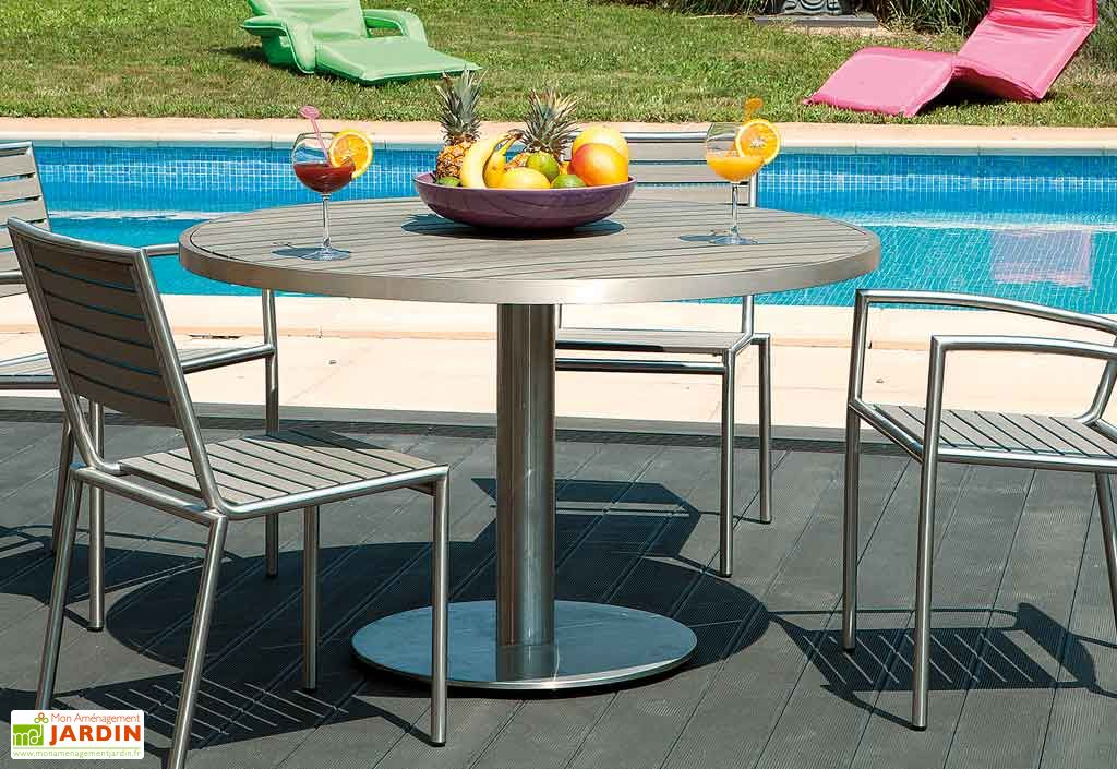 Table Inox et Composite Clipper 120 cm