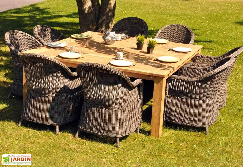 Table Jardin Teck Carrée Rustic (180x180)
