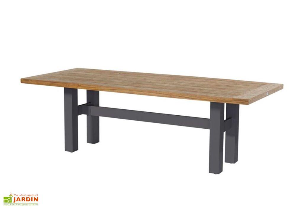 Table de Jardin Bois de Teck et Aluminium Hartman Sophie Yasmani Teak 100 x 240 cm