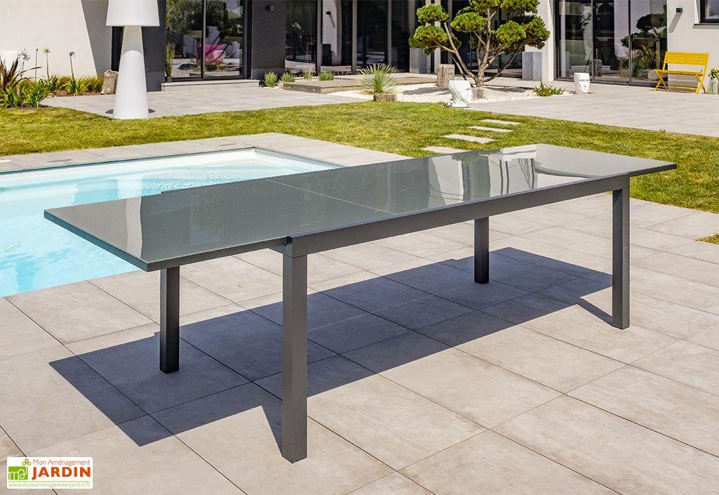 Table De Jardin Extensible Aluminium Et Verre Tolede 200 300 Cm