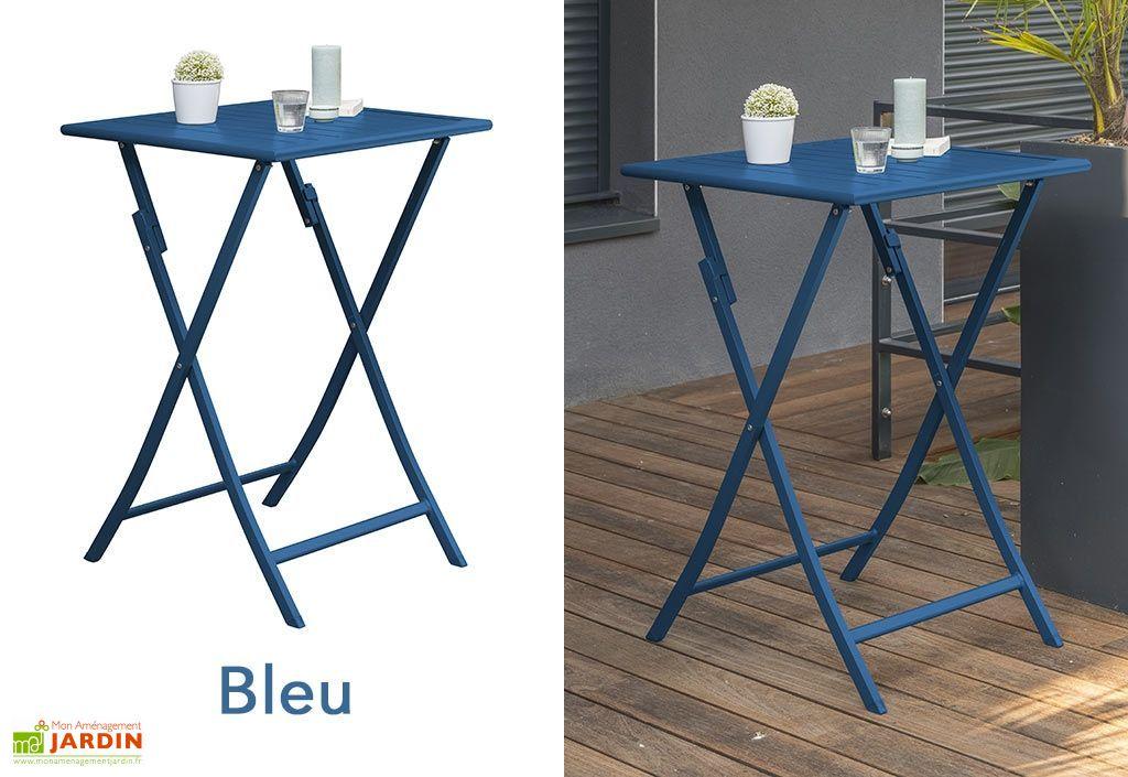 bon ... table de jardin en aluminium bleu pliante 100 cm de hauteur ...