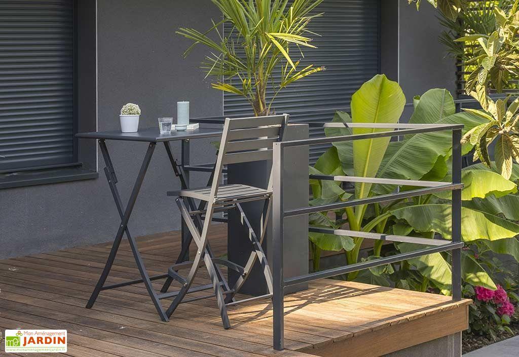 Table de Jardin Haute Pliante en Aluminium 70 cm (pls coloris)
