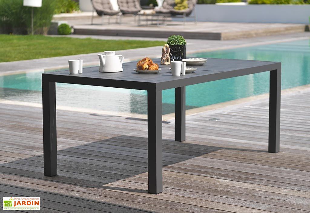 table de jardin miami en aluminium gris anthracite 160 x 100 cm dcb garden. Black Bedroom Furniture Sets. Home Design Ideas