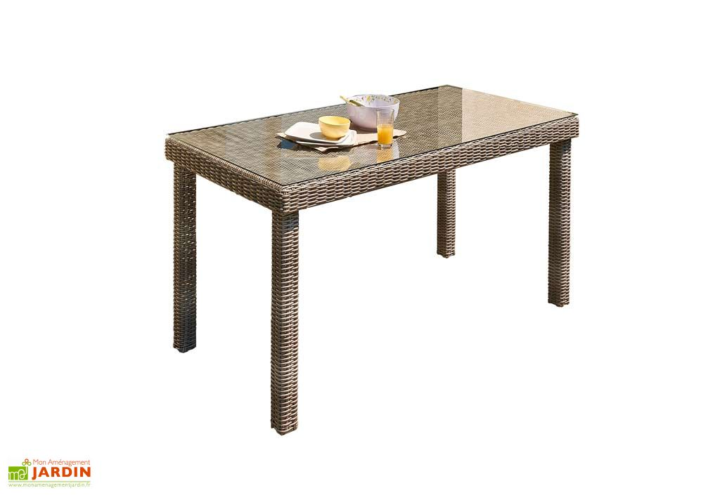 Table Jardin Résine Tressée + Verre (180x90x76)