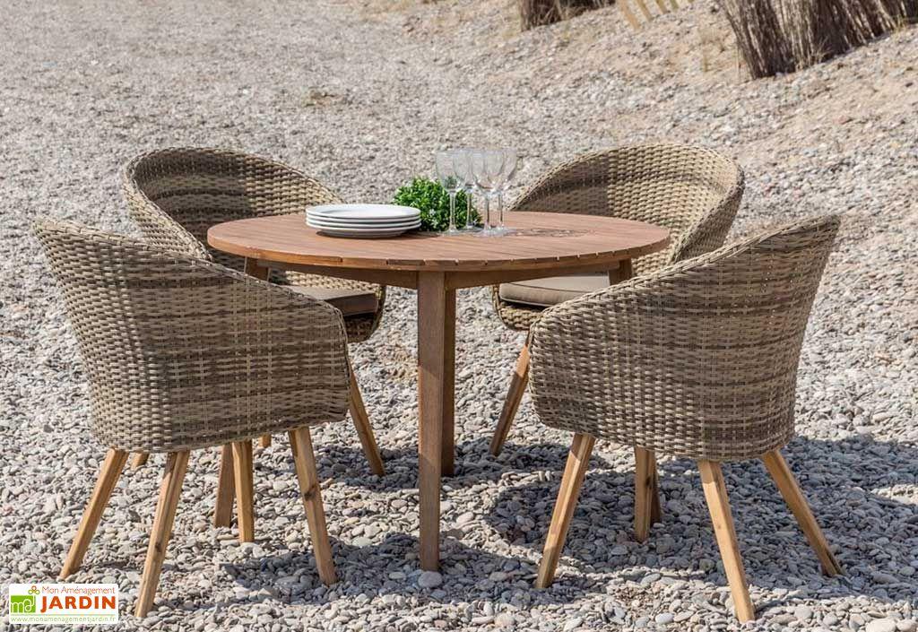 Table de Jardin Ronde en Bois Massif d'Acacia Marilyn 110 x 75 cm