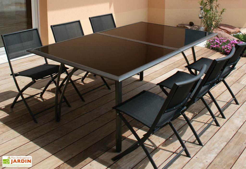 table jardin aluminium verre castorama table rallonge. Black Bedroom Furniture Sets. Home Design Ideas