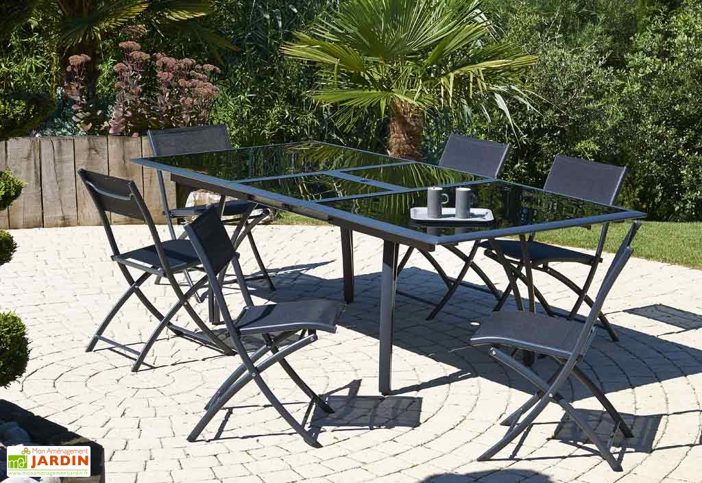 Table Jardin Verre Fumé Noir + Alu (180/240x110x73)