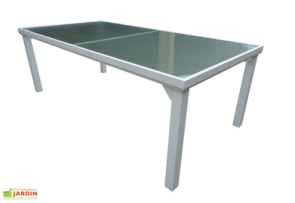 Table de Jardin Whitesun en Aluminium et Verre 210 x 105 x 72 cm