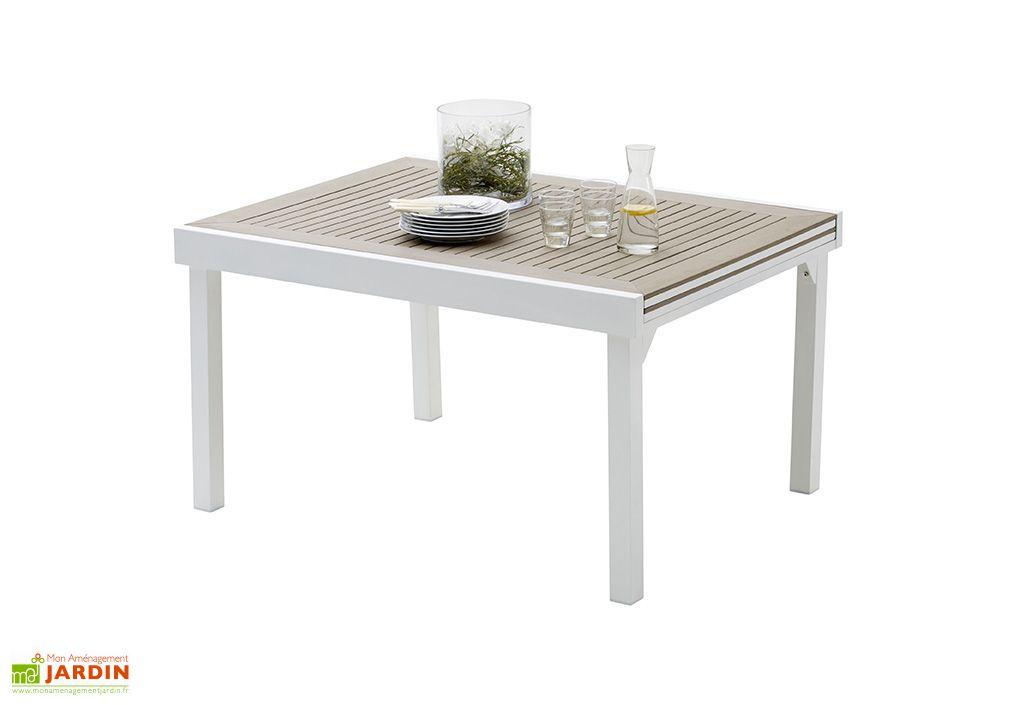 Salon de Jardin Modulo : Table Extensible en Polywood + 10 Fauteuils
