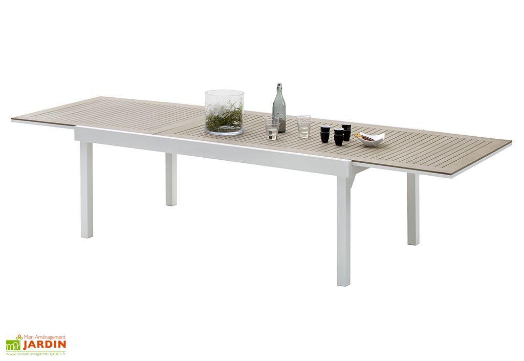 Salon de Jardin Modulo : Table Extensible en Polywood + 12 Fauteuils