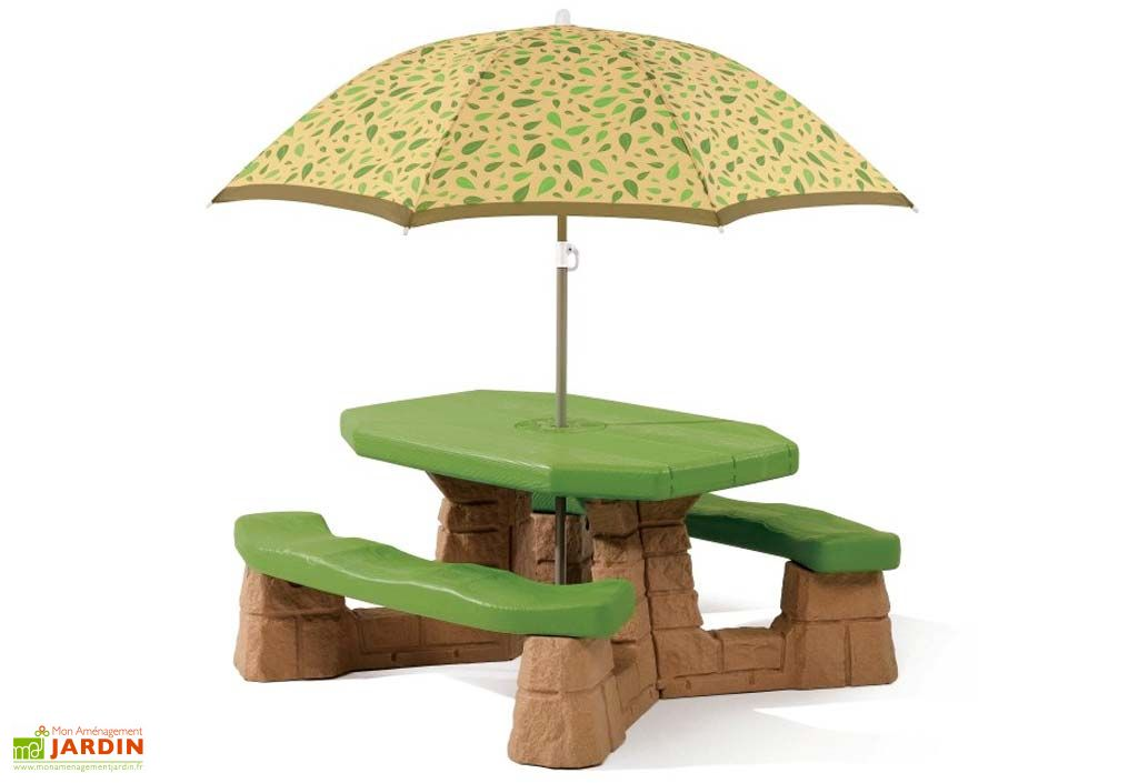 Table de pique nique avec parasol naturally naturally playfull picnic table w umbrella leaf - Table de jardin avec parasol ...