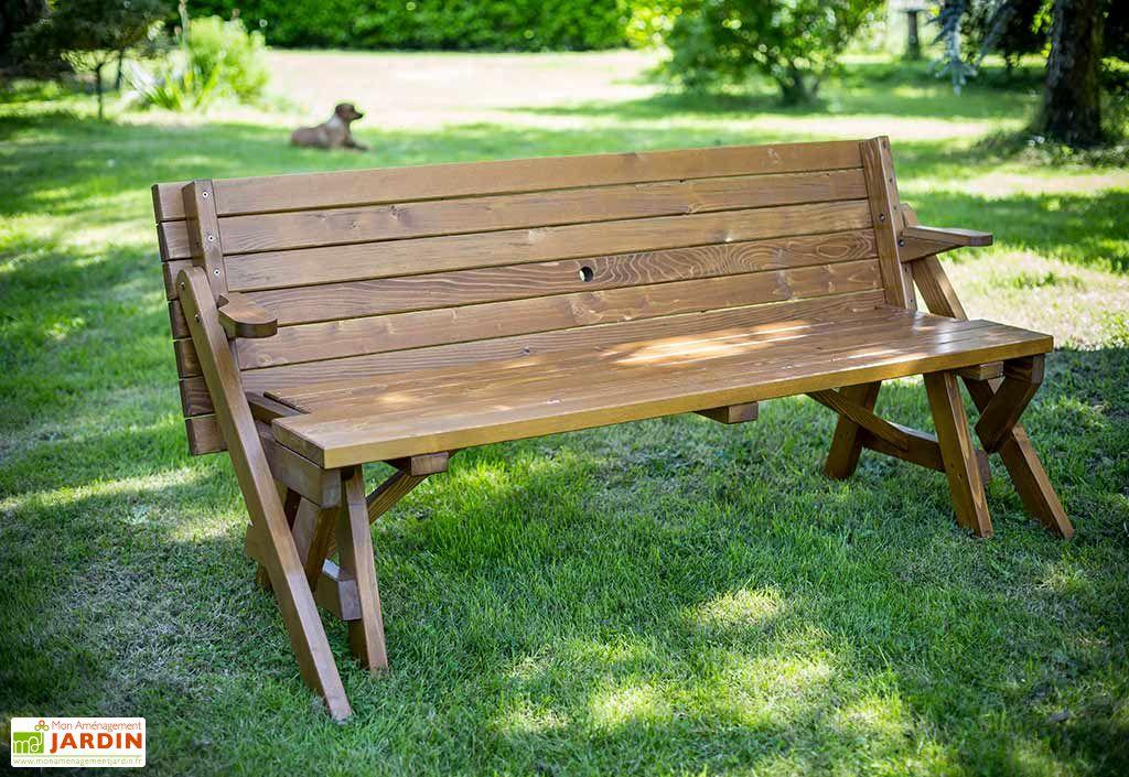 Table Pique Nique Transformable En Banc Bois 195 Cm Hossegor Habrita