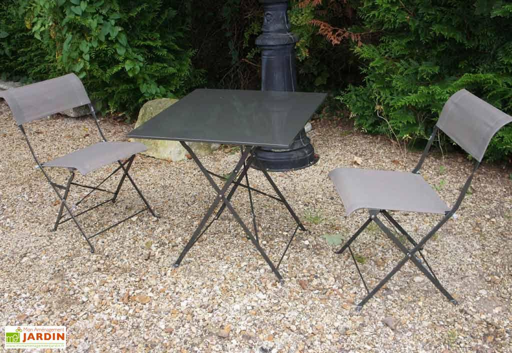 Table Pliante Carrée Cytadine + 2 Chaises Textilène