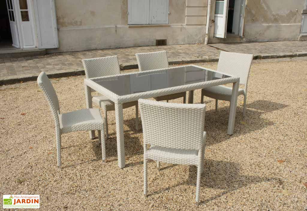 table verre tremp astona 6 chaises art jardin. Black Bedroom Furniture Sets. Home Design Ideas