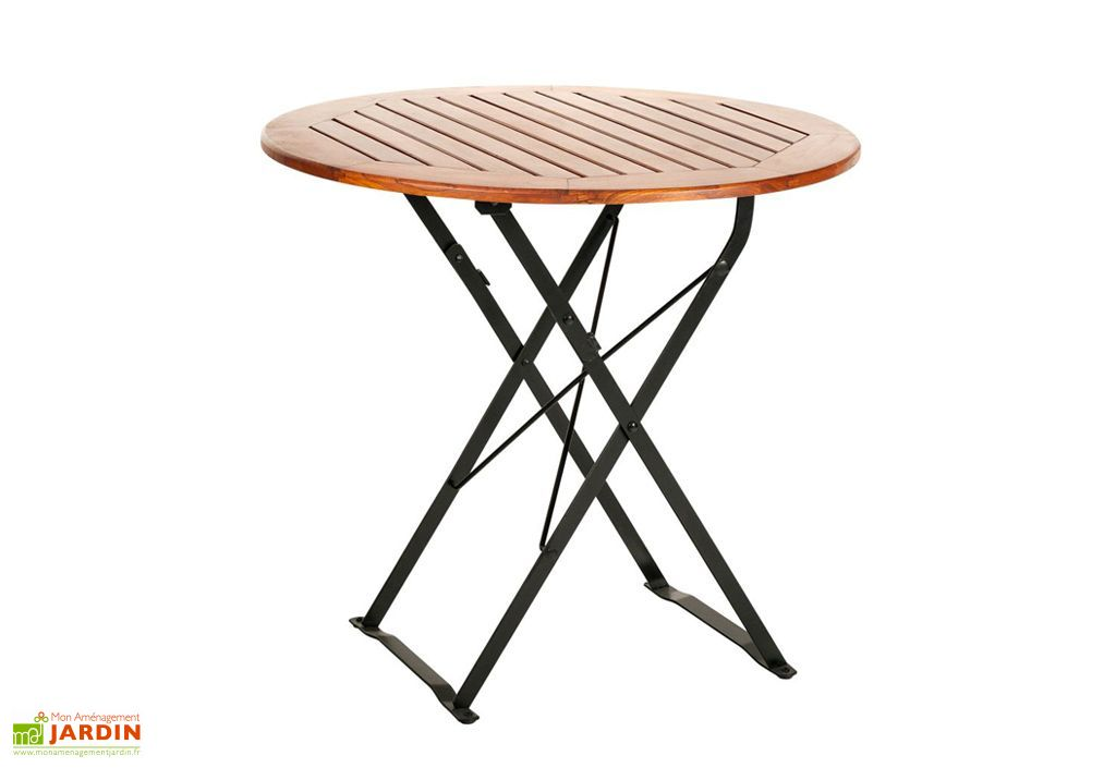 Table de Jardin Ronde en Bois Café Pliante Ø80cm