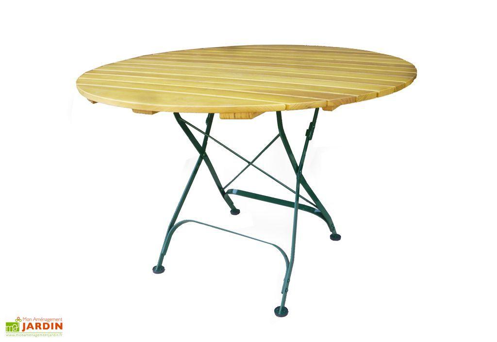 Table de Jardin Ronde en Bois Bistro Pliante Ø110cm