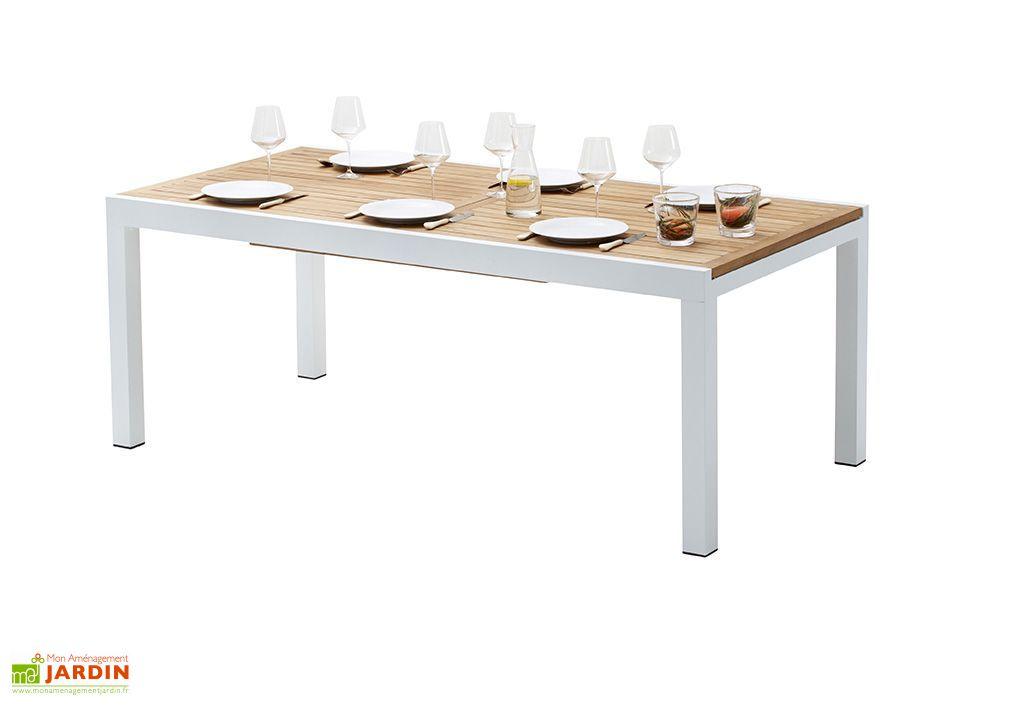 Salon de Jardin Bali : Table Extensible en Alu et Teck + 6 Fauteuils