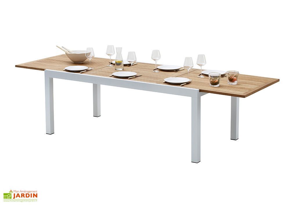Salon de Jardin Bali : Table Extensible en Alu et Teck + 8 Fauteuils