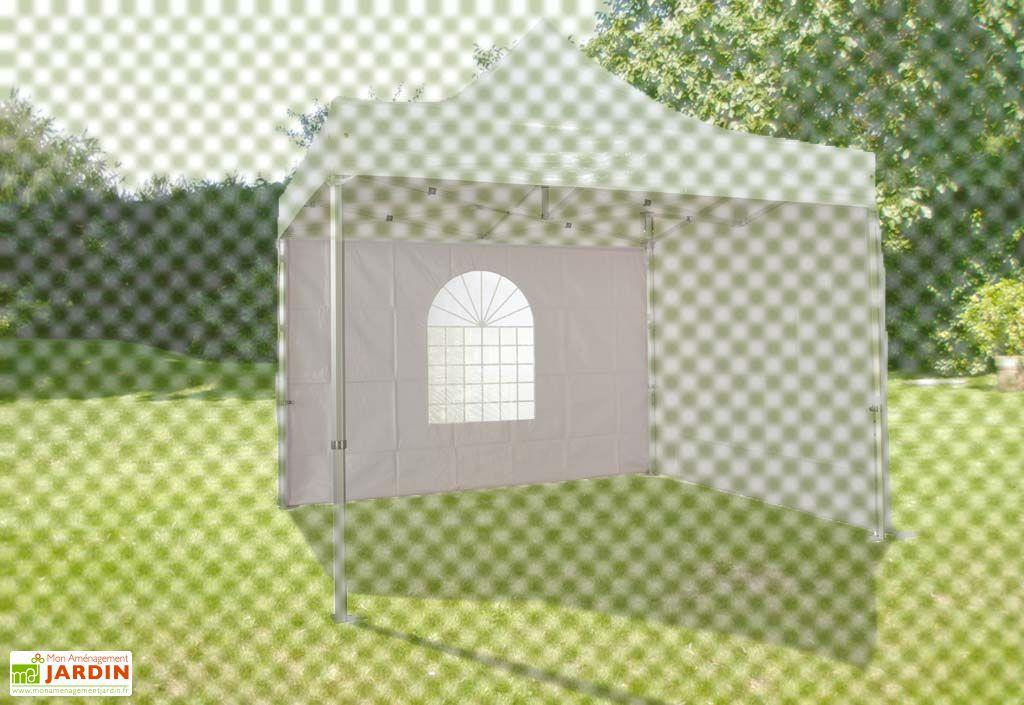 Mur Fenetre PVC Blanc 520 gr/m² pour Tente Pliante 3x3 Alu