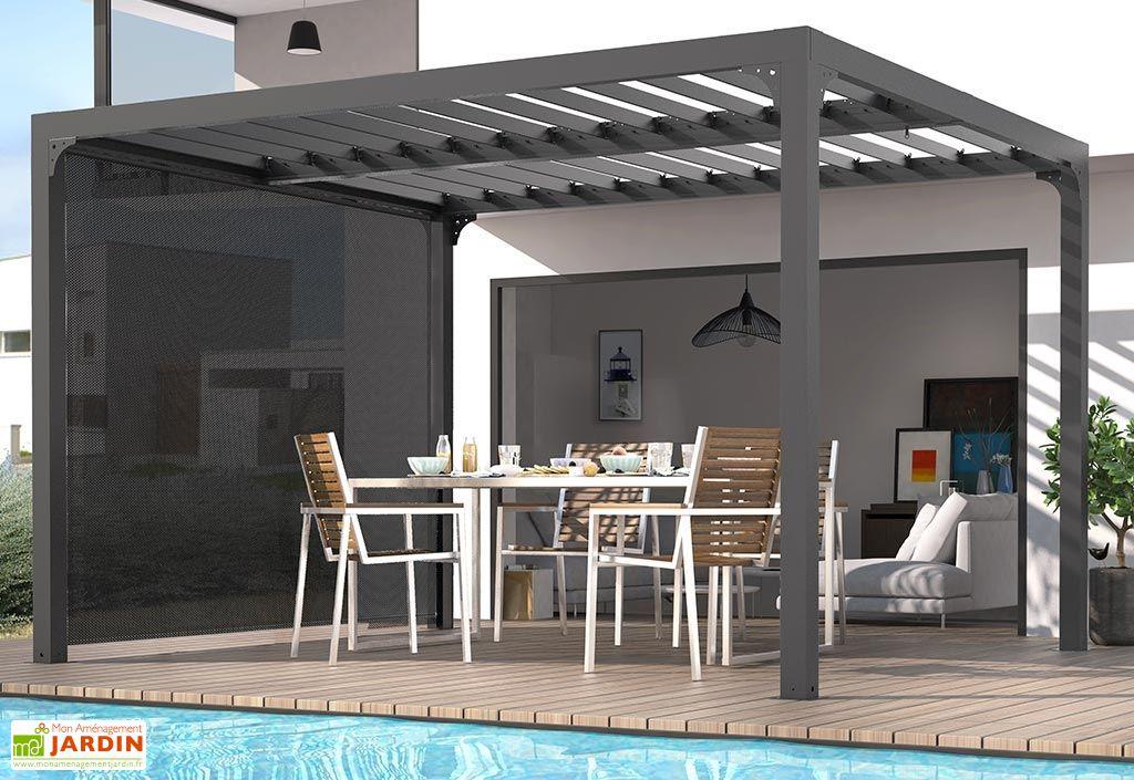 pergola bioclimatique lames orientables 11 m rideau. Black Bedroom Furniture Sets. Home Design Ideas