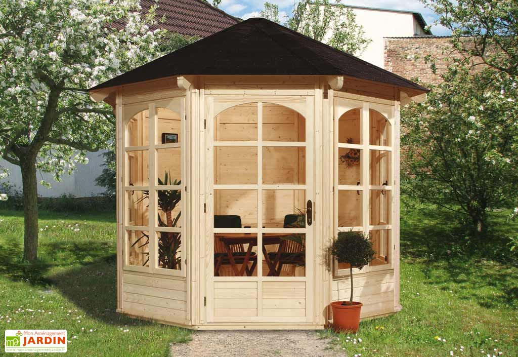 kiosque octogonal bois 19mm ch rie 1 336x365cm weka. Black Bedroom Furniture Sets. Home Design Ideas