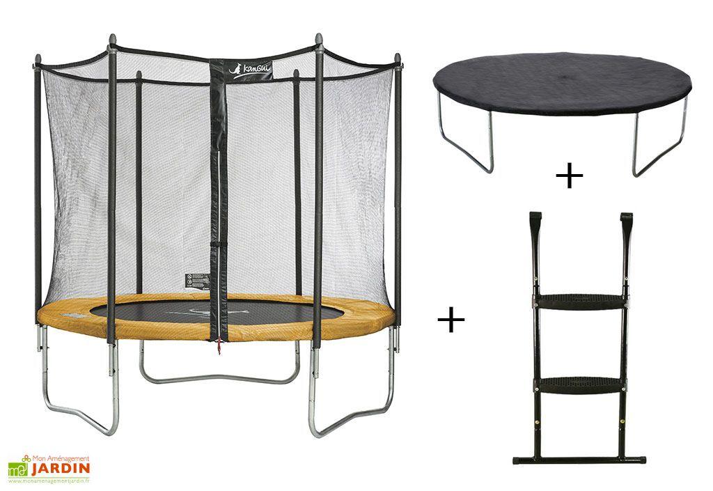 trampoline funni pop 360 pack echelle et couverture kangui. Black Bedroom Furniture Sets. Home Design Ideas