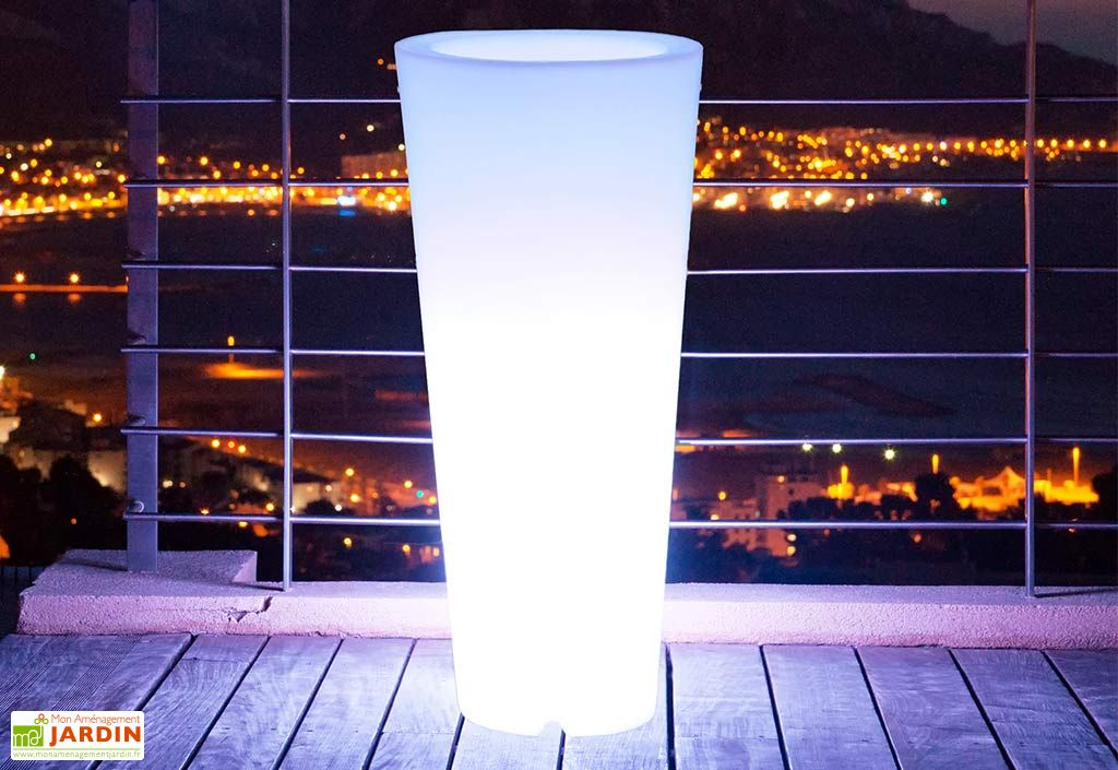 Vase Lumineux Conique Blanc 38x90cm(l,h)