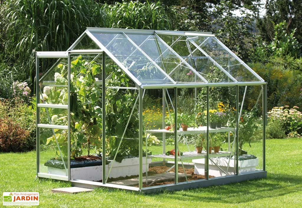 serre de jardin Lams en aluminium gris et verre trempé 3 mm