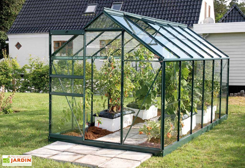 Serre de Jardin en Aluminium Vert et Verre 3mm 7,5m² - Vénus 7500 + ...