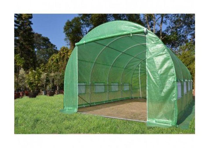 Serre de Jardin Tunnel en Acier Galvanisé et Polyéthylène 24 m² bâche verte porte à zip jardinage