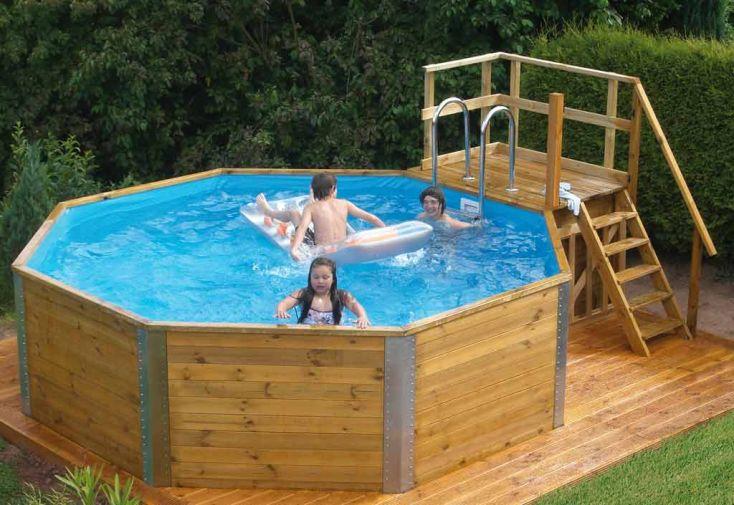 Piscine bois hors sol korsika 11 4 m3 d3 97 weka - Escalier interieur piscine hors sol ...