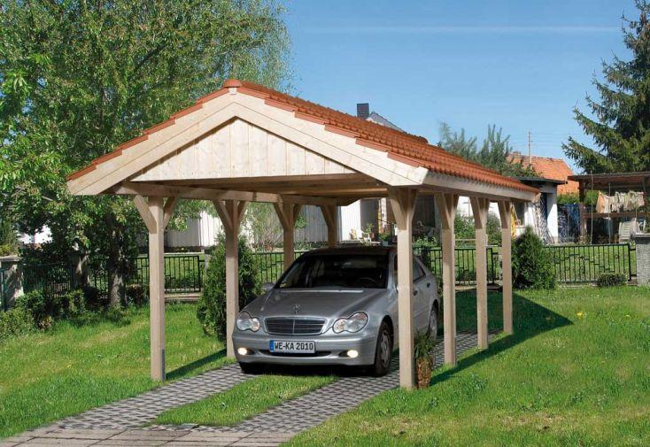 Carport bois lamell coll toiture deux versants abri - Abri piscine bois lamelle colle ...