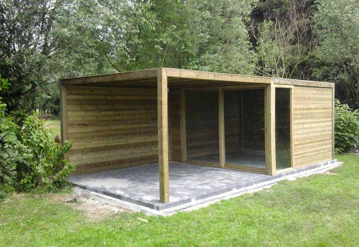 Abri de jardin bois exterior 350x350x230 gardival for Balancelle jardin belgique