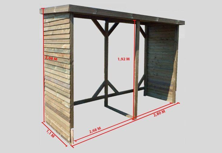Abri range b ches mural en bois 6 st res 280x110x208cm for Abri soleil mural
