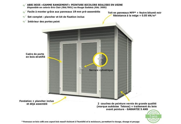 Abri de Jardin Bois 14mm Adossable Skur 1 121x181x211cm