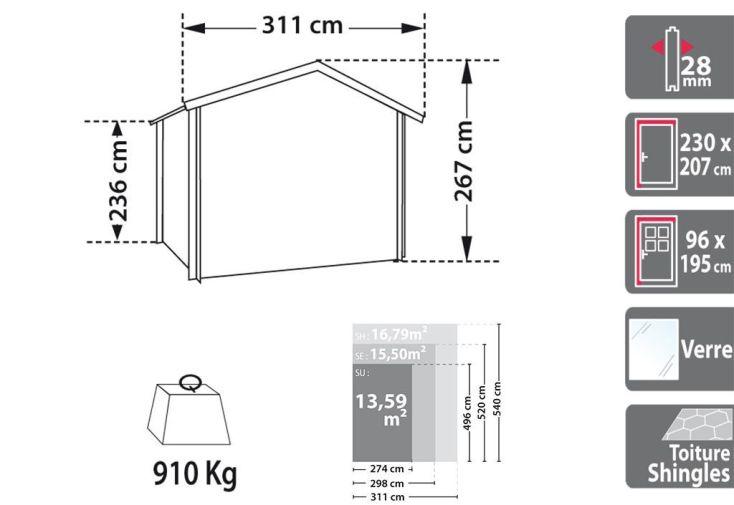 Garage Bois Atlanta Emboité 28 mm (2,98x5,2x2,4)