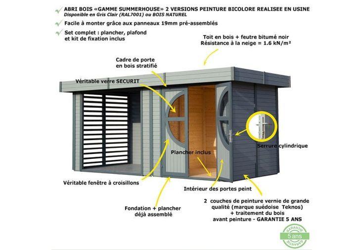Abri de Jardin Bois Design 19mm Relax Gris 456x210x228cm