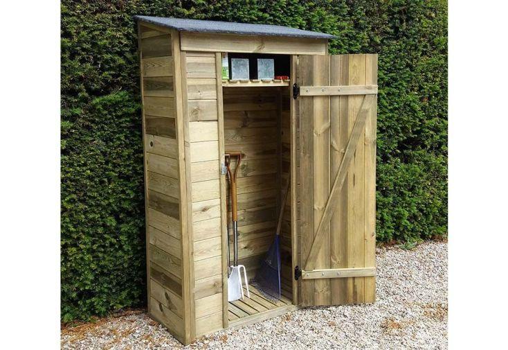 Abri De Jardin Adossable En Bois Traite 111 X 64 Cm