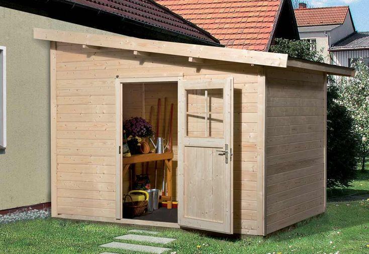 Abri de jardin adossé en bois d'épicéa brut remise de jardin Weka 260 T1 4,94 m²