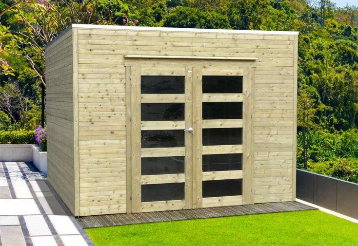 abri de jardin bari en bois traité autoclave avec toit plat