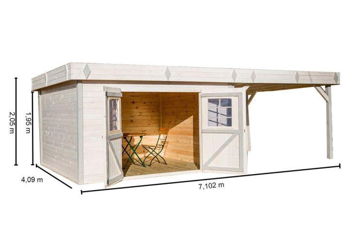 Abri de jardin en bois 28 mm toit plat auvent for Abri de jardin toit plat avec auvent