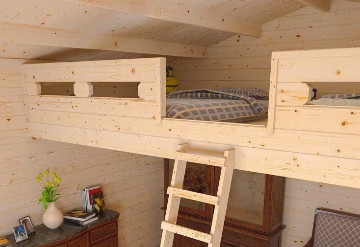 Abri de jardin en bois jasmin 44 mm mezzanine 470x470cm madeira for Abri de jardin quelle epaisseur