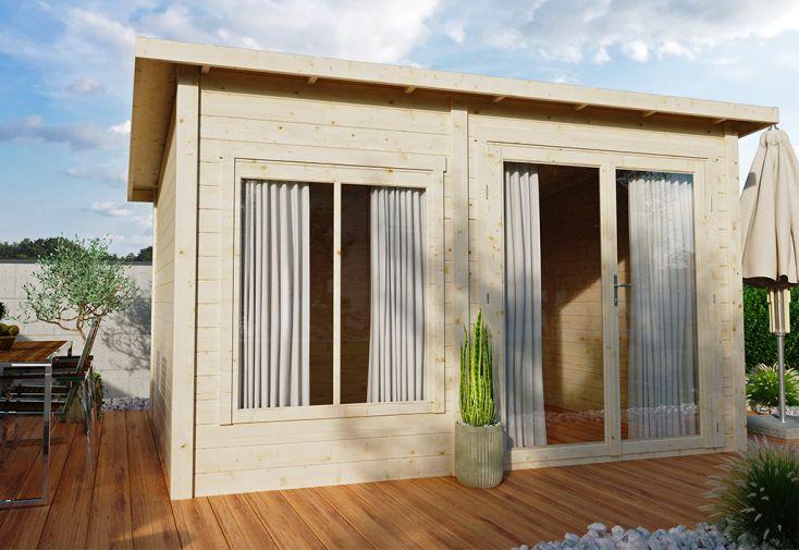 Chalet de jardin en bois brut 44 mm de Luoman avec toiture 1 pente
