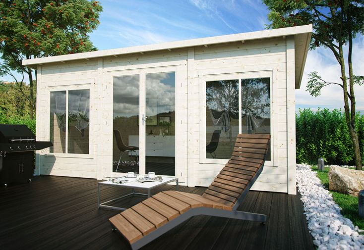 Chalet de jardin en bois brut Luoman et porte vitrée double vitrage