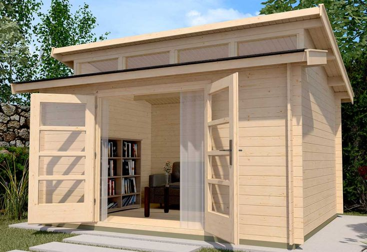 Abri de jardin en bois d'épicéa brut Weka Premium 28 T2 11,40 m²
