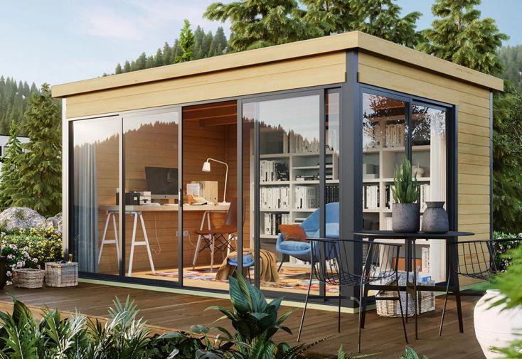 abri de jardin semi habitable en bois et baies vitrées Domeo 4 plus